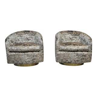 Milo Baughman Brass Base Swivel Chairs