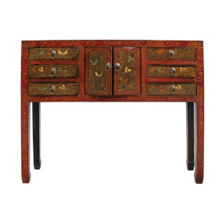 Chinese Red Butterfly Motif Console Table