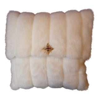 White Faux Fur Throw Pillow with Brooch Accent