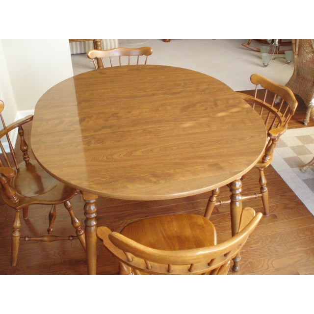 Ethan Allen Solid Wood Dining Table Set - Image 4 of 5