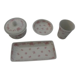 Vintage Laura Ashley Pink Ribbons Vanity Set-4 Pieces