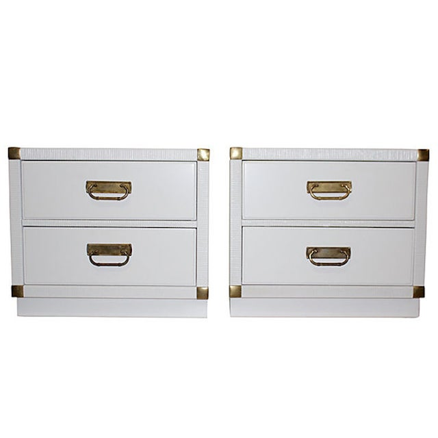 Image of White Mid-Century Nightstands by Drexel - A Pair