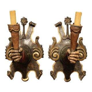 Early 20th Century Spanish Hand-Carved & Painted Wall Sconces - A Pair
