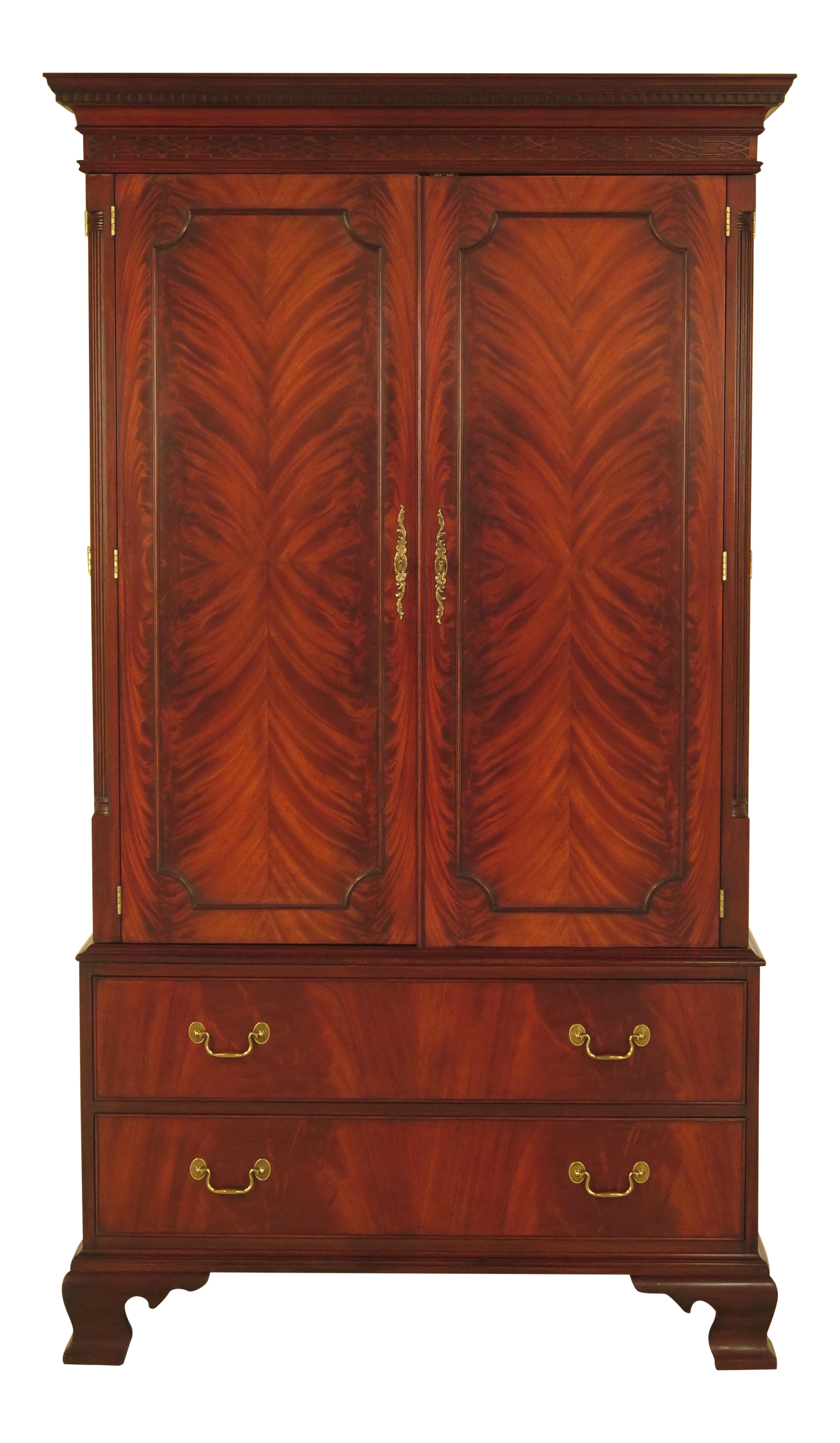 High Quality Henkel Harris Flame Mahogany Chippendale TV Armoire