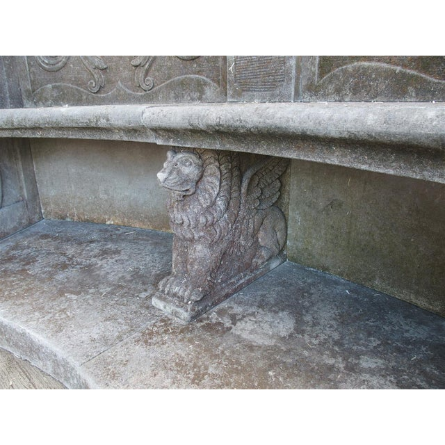 A Large Semi Circular Carved Limestone Griffins Bench - Image 8 of 11