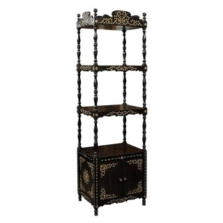 Ebonized Wood Etagère with Floral Bone Inlay Decor from the Early 19th Century