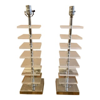 A Pair of Stacked Lucite Block Table Lamps