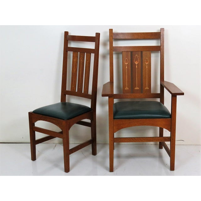 Stickley Dining Room Furniture For Sale: Stickley Inlaid Oak Dining Chairs - Set Of 6