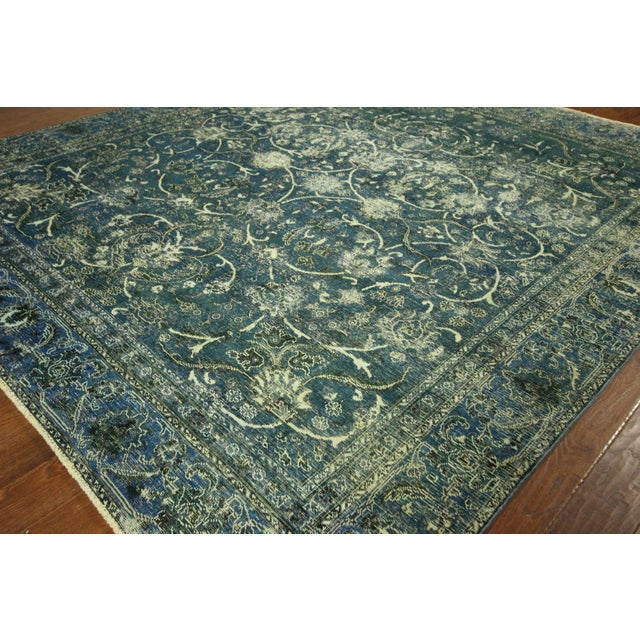 """Oriental Overdyed Tabriz Floral Rug - 9'2"""" x 10'2 - Image 5 of 11"""