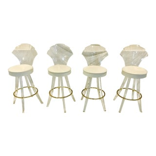 Vintage Lucite Acrylic Fan Back Bar Stools - Set of 4