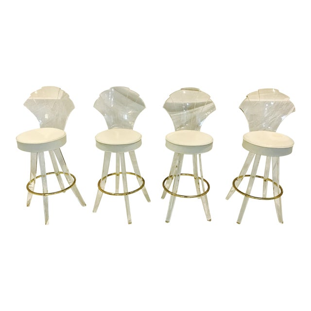 Vintage Lucite Acrylic Fan Back Bar Stools - Set of 4 - Image 1 of 9