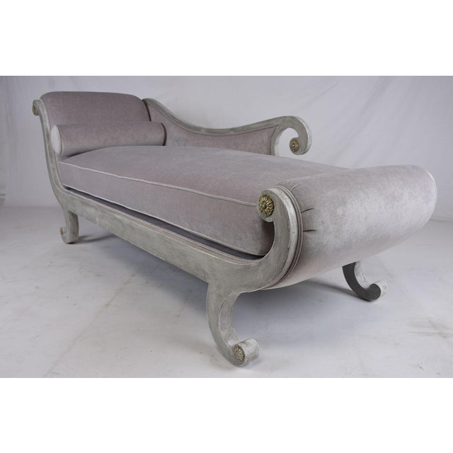 Antique hollywood regency style chaise lounge chairish for Antique style chaise lounge