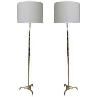Pair of Large French Brass Faux Bamboo Standing Lamps by Maison Bagues