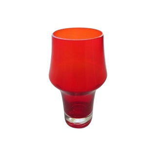Aimo Okkolin for Riihimaki Stromboli Finnish Red Glass Vase