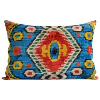 Blue & Yellow Silk Velvet Accent Pillow