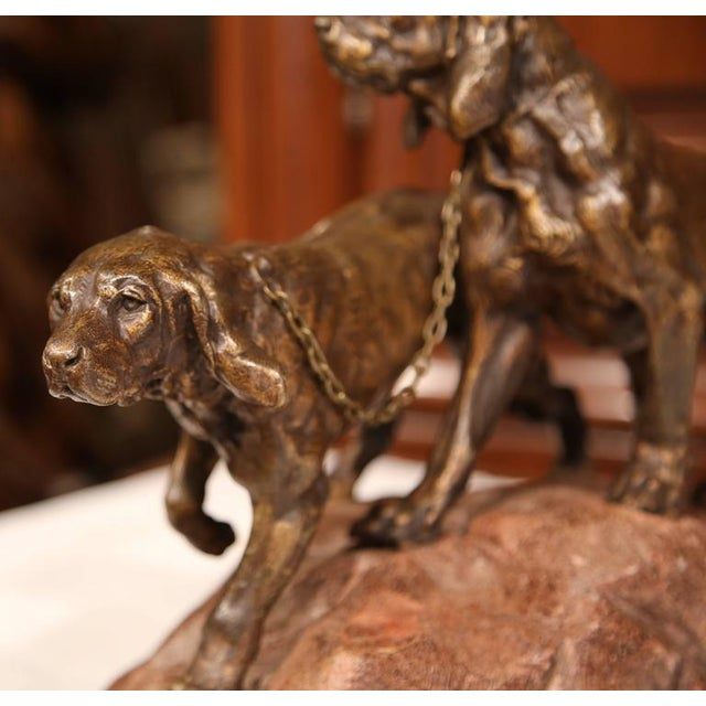 19th Century French Patinated Spelter Hunting Dog Sculpture - Image 4 of 9