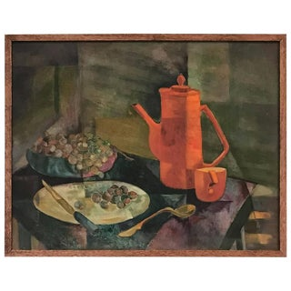 Charming Modernist Oil On Board Still-Life Painting