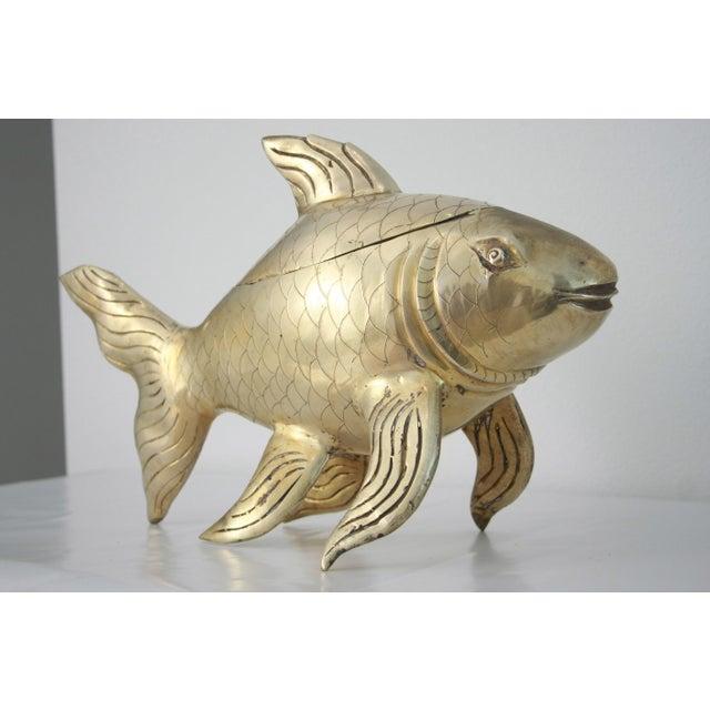 Brass koi fish lidded bowl chairish for Koi fish bowl