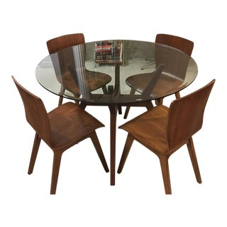Mid-Century Modern Dining Table & Chairs Set