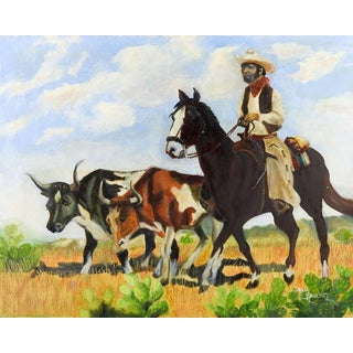 Rugged Cowboy & Longhorns Oil Painting