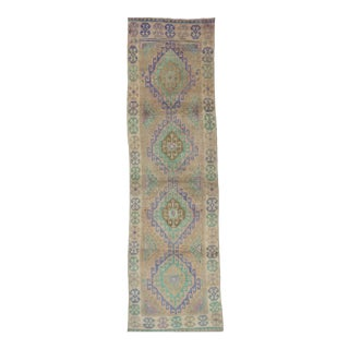 Vintage Turkish Oushak Runner Rug - 3′5″ × 11′6″