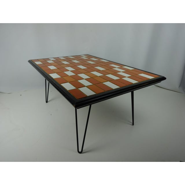 Image of 1960s Hairpin Leg Tile Cocktail Table