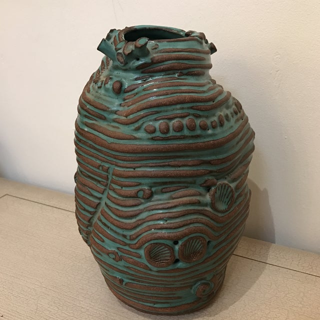Turquoise Coiled Ceramic Vase - Image 2 of 9