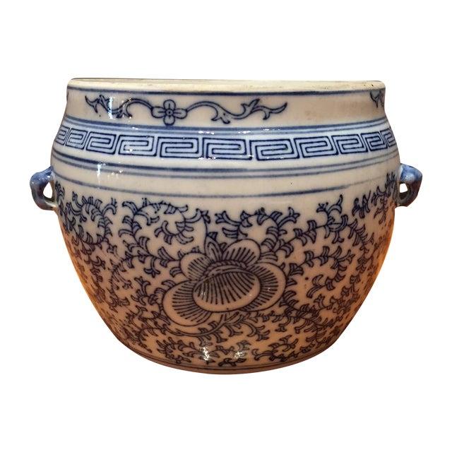 Blue & White Chinese Fish Bowl - Image 1 of 5