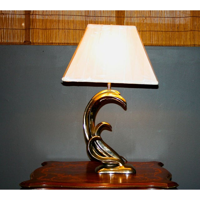Modern Aged Silver Sculptured Accent Lamp - Image 3 of 7