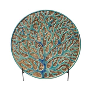 Green Coral Pattern Design Porcelain Handmade Round Plate On Stand Home Decor