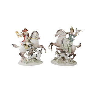 Pair of Hutschereuther Selb Porcelain Equstrian Horse Figurine Sculptures Signed K. Tutter, Circa 1960