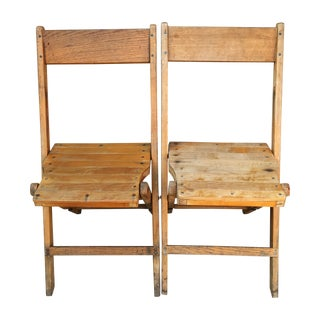 Snyder Rustic Wooden Folding Chairs - A Pair