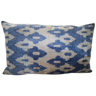 Mineral Blue and Cream Silk Velvet Ikat Pillow