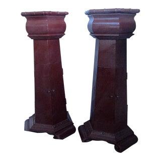 Antique Hexagon Pedestal Tables/Stands - Pair