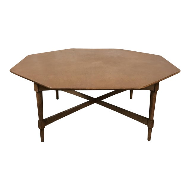 Mid century octagon coffee table chairish for Octagon coffee table