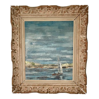 French Seascape Oil on Canvas Painting