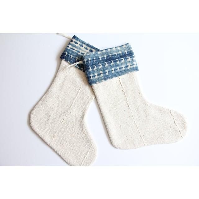 Vintage Indigo and Mudcloth Christmas Stocking - Image 4 of 5