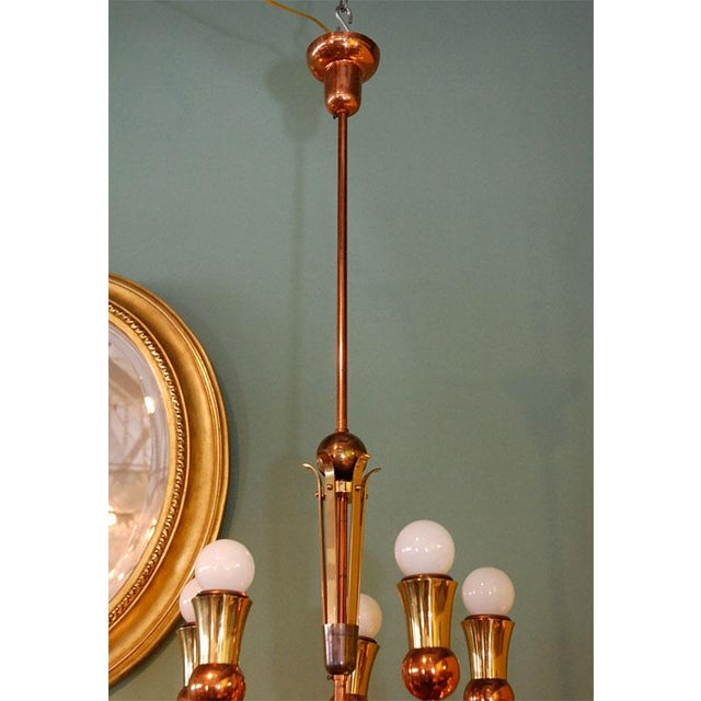 Brass and Copper Chandelier - Image 8 of 10