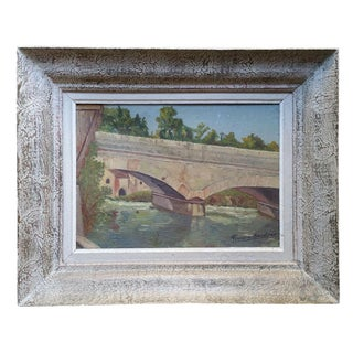 1950s Vintage Framed French Country Oil Painting
