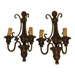Wood and Gilded Metal Shabby Chic Sconces - A Pair