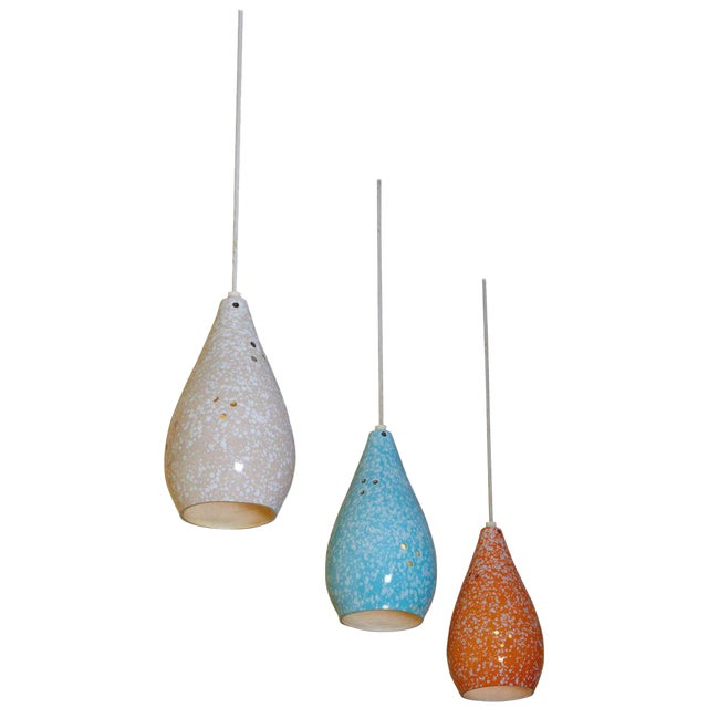 Set of Three Colorful Glazed Ceramic Pendant Lights - Image 1 of 4