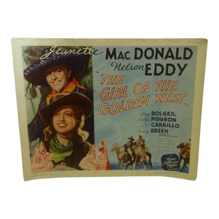 """Vintage Movie Poster """"The Girl of the Golden West"""" Jeanette Macdonald & Nelson Eddy - 1962"""