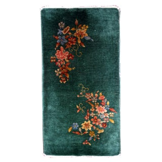 1920s Hand Made Antique Art Deco Chinese Rug - 1′10″ × 3′10″
