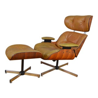 Plycraft Eames Style Walnut Lounge Chair with Ottoman