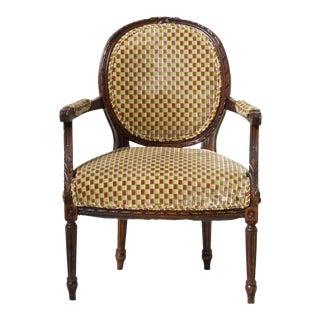 Louis XVI Fauteuil in Cut Velvet