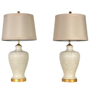 Vintage Tribal Cream and White Lamps - a Pair