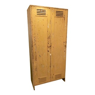 Vintage Mustard Yellow Distressed Wooden Double Locker