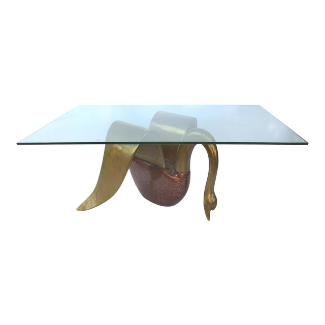 Brass & Tortoise Swan Coffee Table - Image 1 of 10