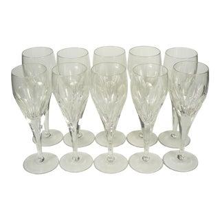 Vintage Crystal Wine Flutes - Set of 10