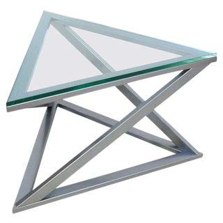 Triangular Gun Metal Side Table